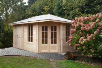 5-eck Gartenhaus mit Anbau 28 mm NWH Haag 28036s