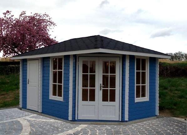 5-eck Gartenhaus mit Anbau 28 mm NWH Haag 28036