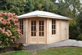 5-eck Gartenhaus mit Anbau 40 mm NWH Haag 40009s