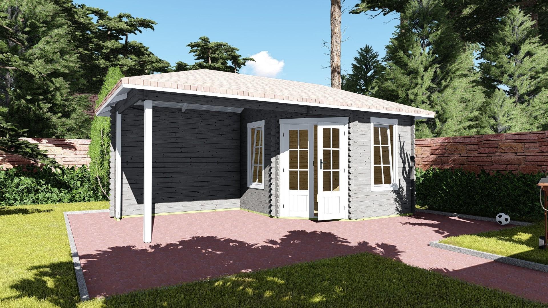 5-eck Gartenhaus mit Schleppdach 40 mm NWH Erfurt 40049