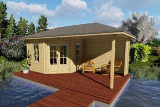 5-eck Gartenhaus mit Terrasse 40 mm NWH Erfurt 40049S