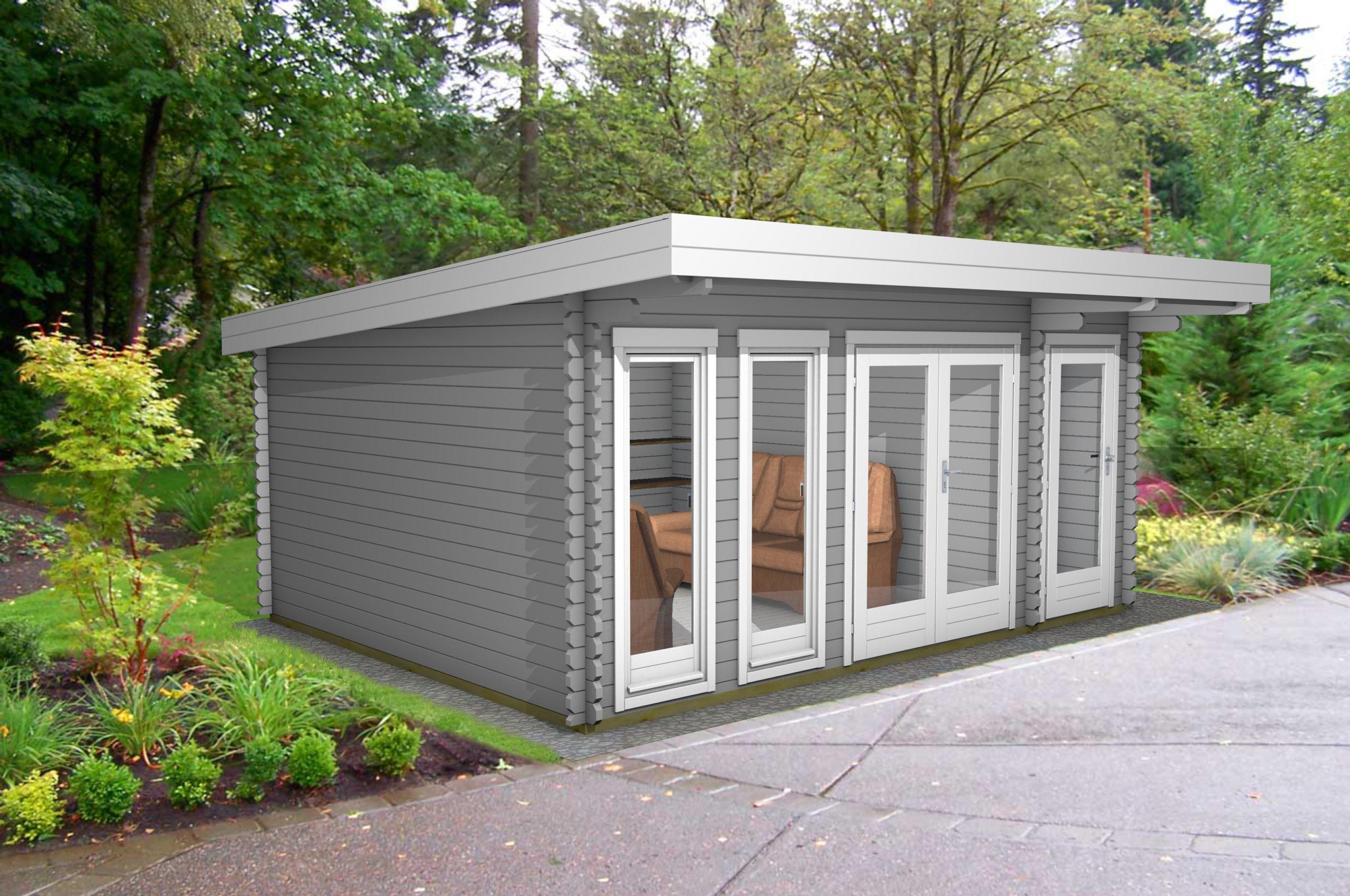 Gartenhaus Flachdach 2-Raum 40 mm NWH Lingen 40209