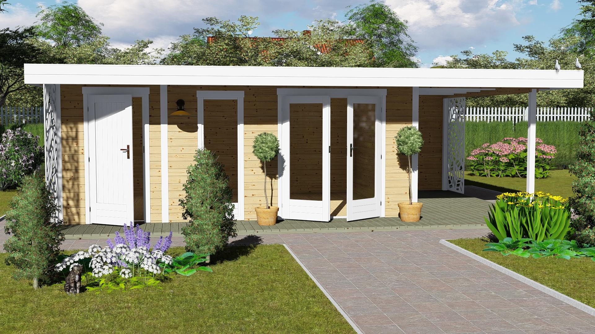 Gartenhaus Flachdach mit Anbau und Terrasse 28 mm NWH Kiel 28227