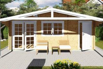 Gartenhaus mit Anbau 40 mm NWH Lisa 40057