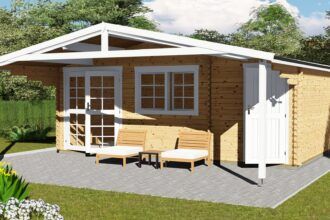 Gartenhaus mit Anbau 40 mm NWH Lisa 40058