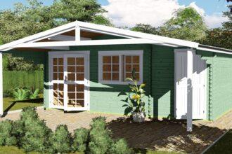 Gartenhaus mit Anbau 40 mm NWH Lisa 40059