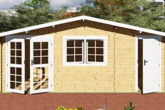Gartenhaus mit Anbau 40 mm NWH Mosel 40057