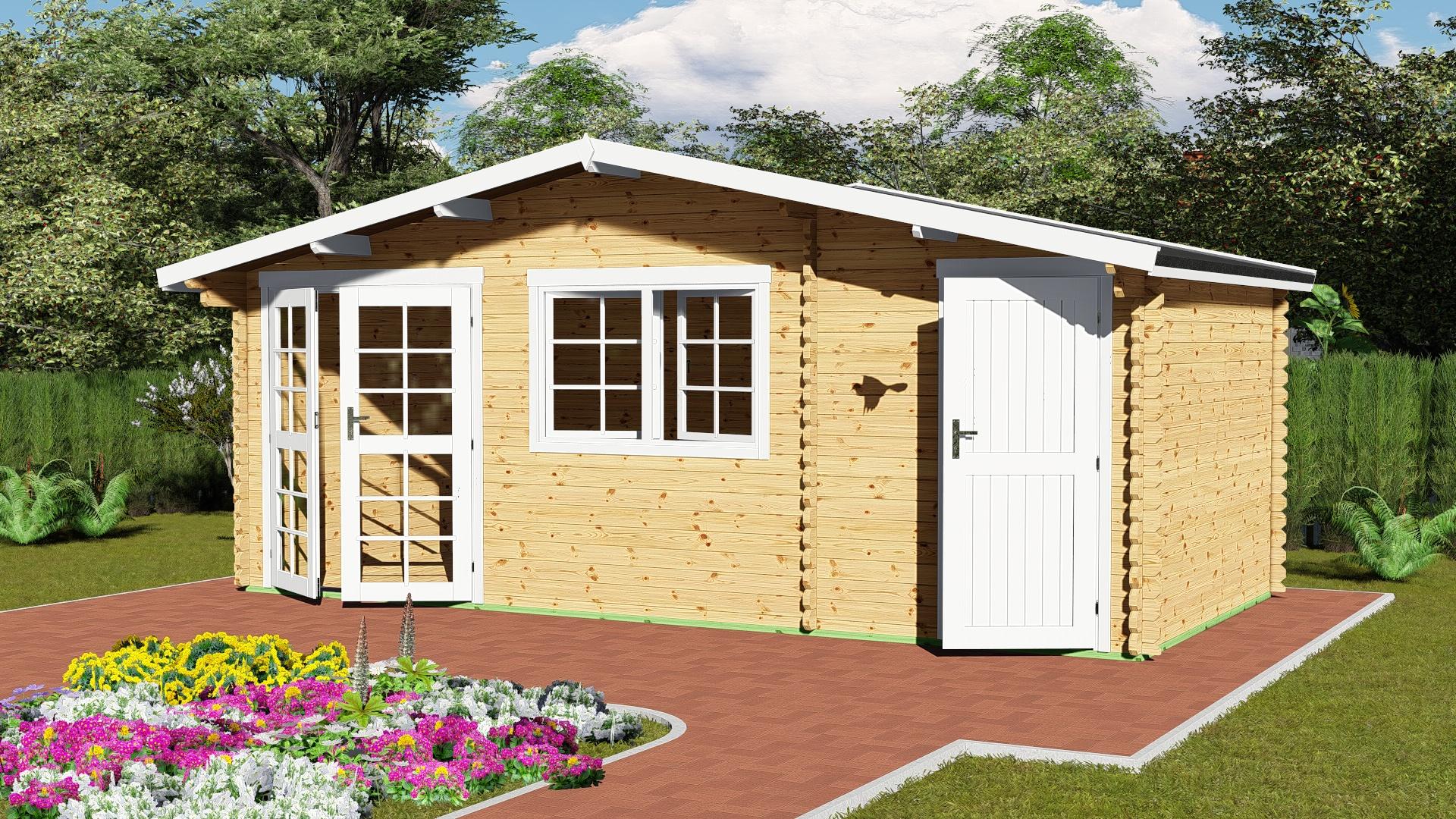 Gartenhaus mit Anbau 40 mm NWH Mosel 40060
