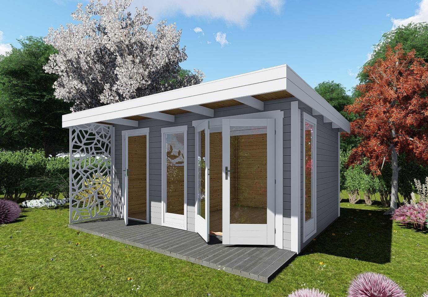 Gartenhaus Design Flachdach mit Anbau 40 mm NWH Celle 40224