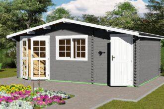 Gartenhaus mit Anbau 40 mm NWH Mosel 40058