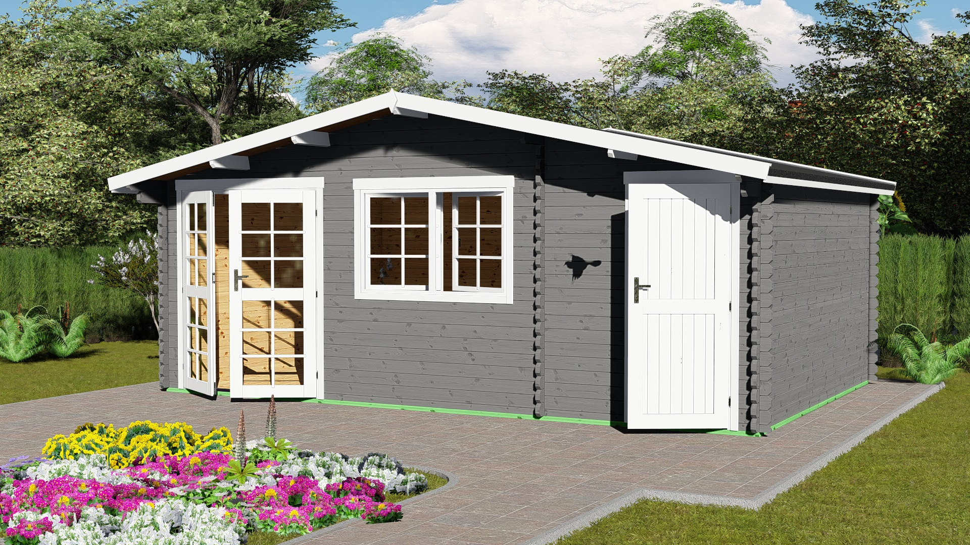 Gartenhaus mit Anbau 40 mm NWH Mosel 40061
