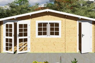 Gartenhaus mit Anbau 40 mm NWH Mosel 40059